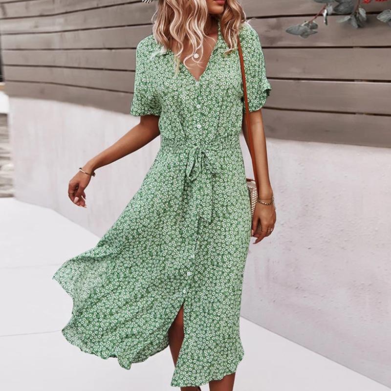 Floral Dress Women Casual Print Dress V Neck Midi Dresses Female Short Sleeve Button Loosed Dress Summer Holiday Beach Vestidos