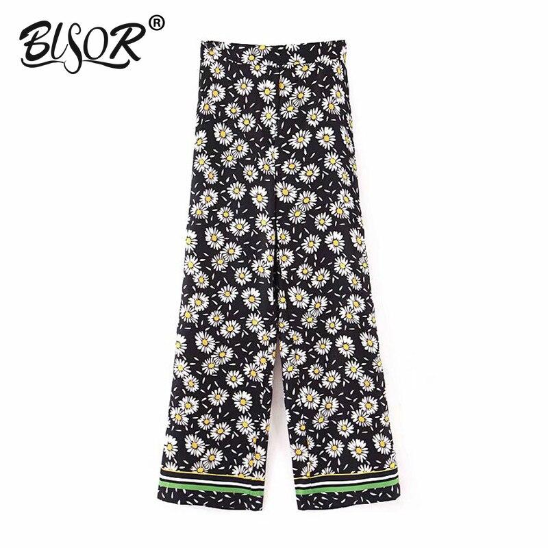 Women stylish print   wide     leg     pants   High elastic waist female elegant casual vintage long trousers pantalones