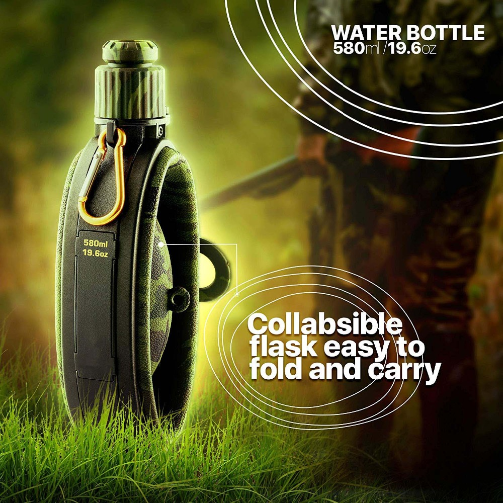 Collapsible Military Water Bottle Hiking Accessories Silicone Water Kettle Canteen with Compass Bottle Cap for Tourism Camping (5)