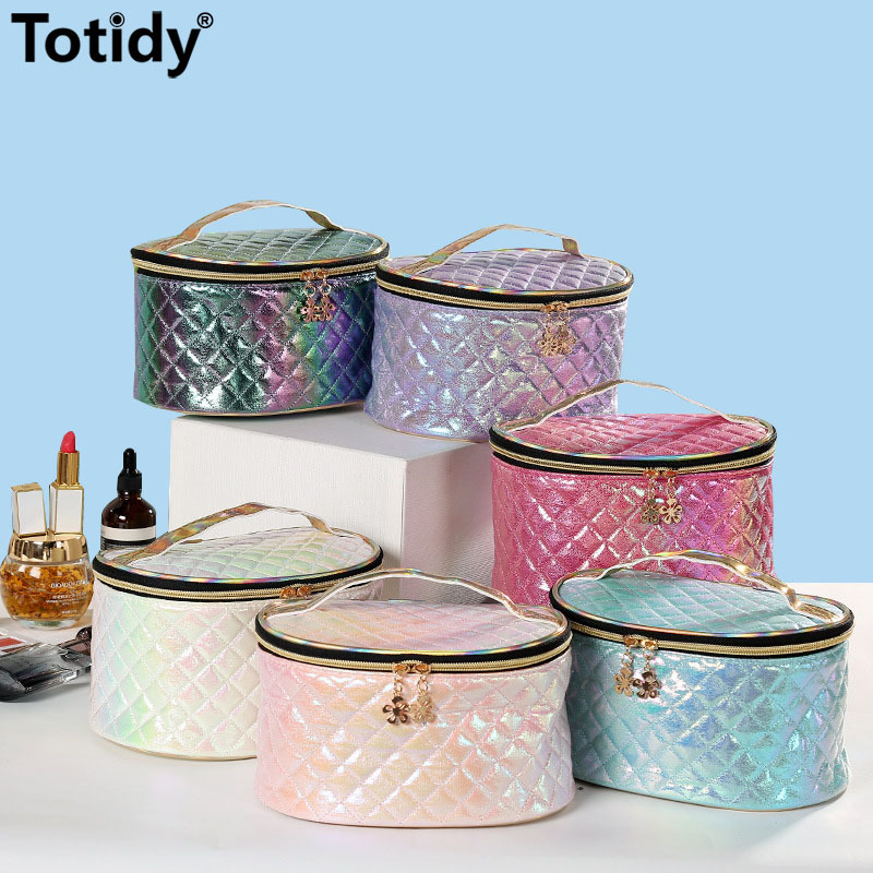 Glossy Plaid Women Cosmetic Bag Fashion Beauty Suitcases For Cosmetics Case Female 2021 Pu Leather Travel Makeup Bag Organizer