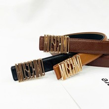 2019 new women's belt English letter trend belt MOSCHINQ wild casual jeans women's decorative student pants ladies belt m13(China)