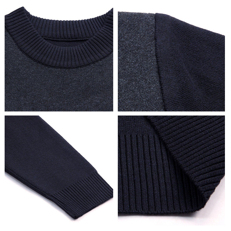 Fashion Men Hole Sweater Autumn Winter Casual O-Neck Slim Knittwear Mens Sweater Striped Sweaters Pullovers Men's Clothing