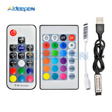 5V 12V LED RGB IR RF ระยะไกล Dimmer Controller 5V 12V USB LED SDM3528 Strip LIGHT 3 คีย์ 17 Key 24 LED RGB Wireless Controller(China)
