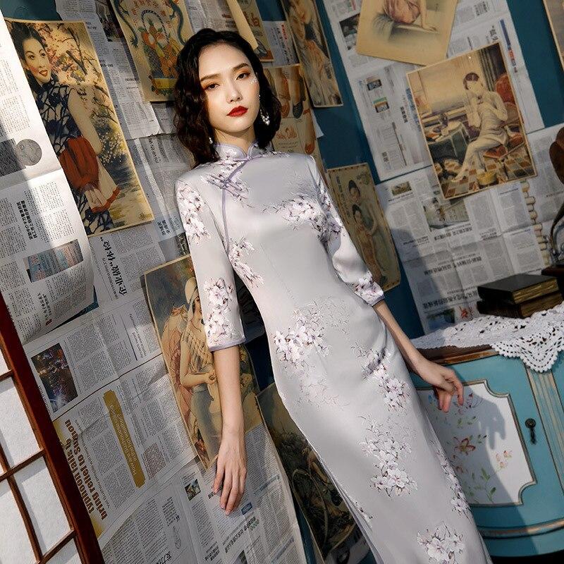 Sheng Coco S-4XL Elegant Cheongsam Long Silk Dress Ladies Pretty White Chinese Style Qipao Long Sleeve Dresses Slim Shanghai Qi