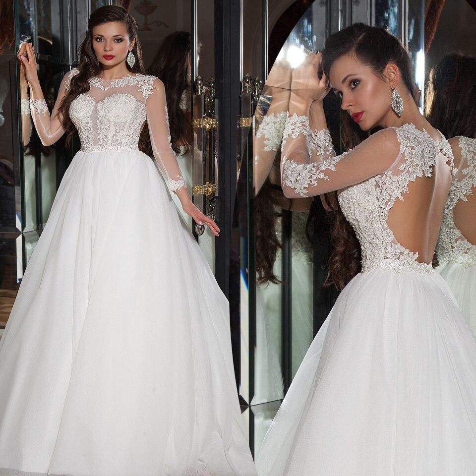 Fabulous White Backless Women Lace Wedding Dress Long Sleeve A-Line Wedding Dresses Vestido De Noiva 2016 Robe De Mariage MM03