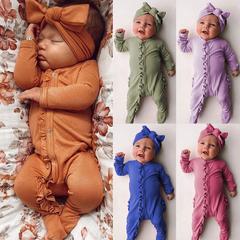 CYSINCOS Cotton Long Sleeve Laciness Newborn Boys Girls Jumpsuits Solid Color Infant Wrap Feet Jumpsuits Baby Headband 2Pcs Sets