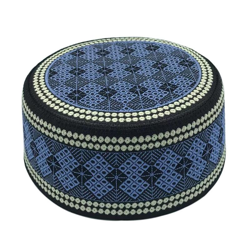 2020 New Muslim Men Prayer Hats Cotton Embroidery Leisure Saudi Arabia Islamic Hat Men Headscarf Clothing Topkippot Turban