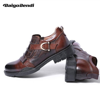 Hight End Oxfords Men Genuine Leather Fold Buckle Formal Dress Shoes Business Man Soft Leather Round Toe Shoes Trendy Summer