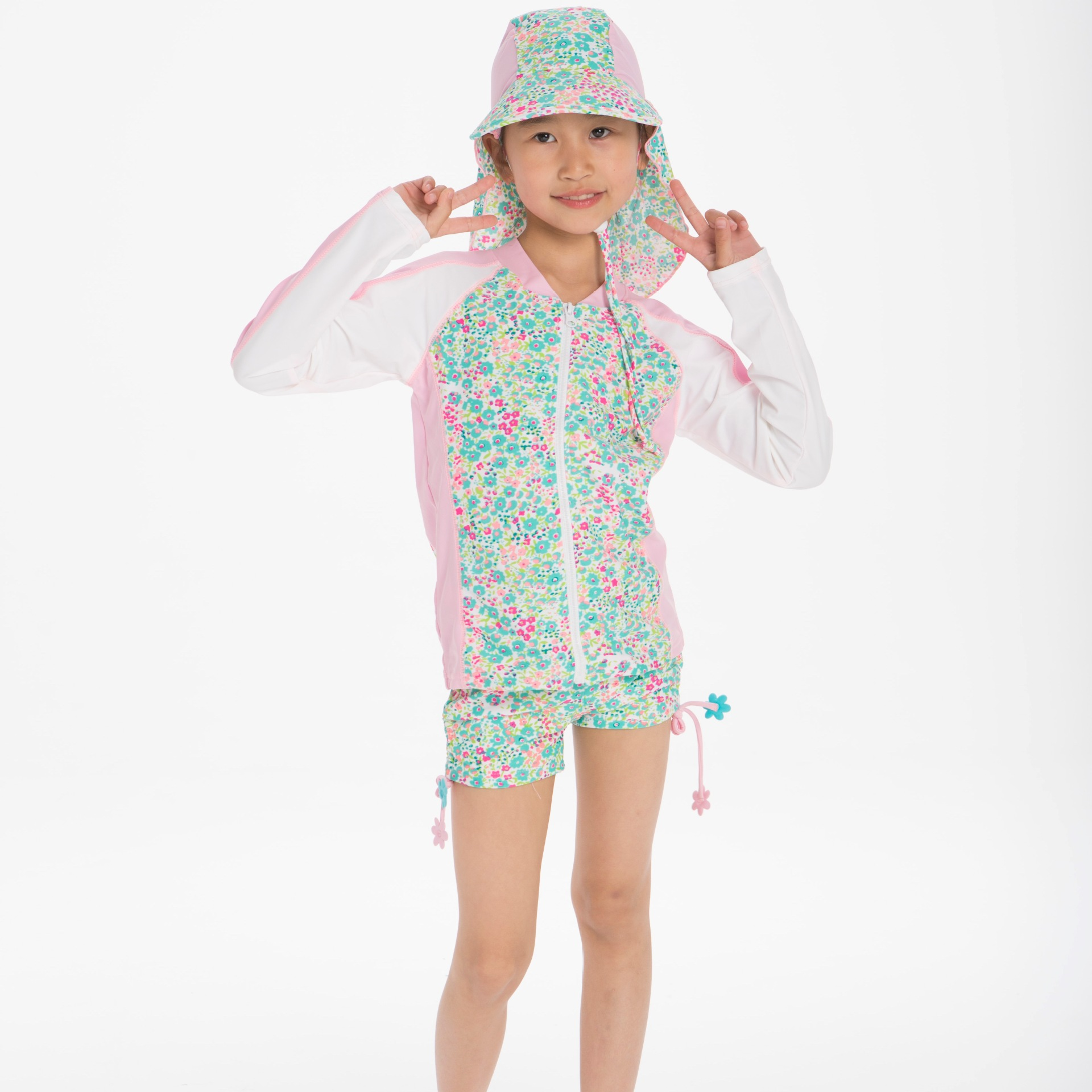 CHILDREN'S Surf Clothes Beach Set 4-12-Year-Old Girls Long Sleeve Shorts Two-piece Swimsuits Swimming Trunks Sun Protection Hat