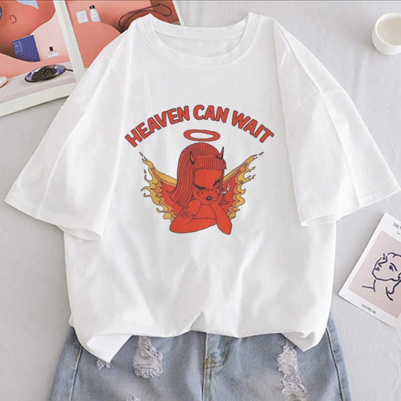 Heaven Can Wait Angel Girl Print T Shirt Women Casual Ulzzang Aesthetic Fun Streetwear Tshirt Tops Short Sleeve Female T-shirt