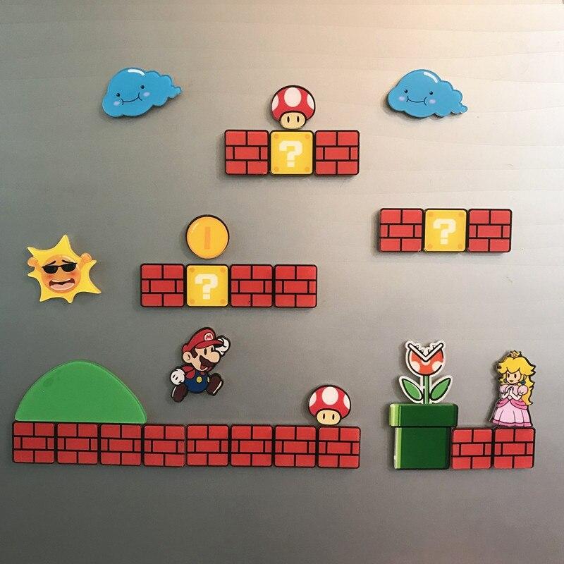 Super mario geladeira ímãs geladeira japão desenhos animados jogos caixa de gelo paster icebox adesivo