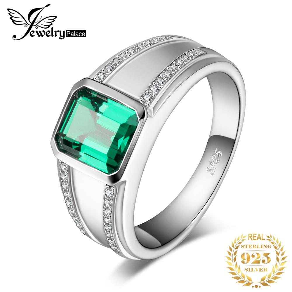 JewelryPalace Classic Men Created Nano Russian Emerald Anniversary Wedding Ring 925 Sterling Sliver
