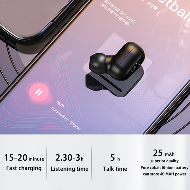 2021 Invisible Ture Wireless Earphone Noise Cancelling Bluetooth Headphone Handsfree Stereo Headset TWS Earbud With Microphone 5