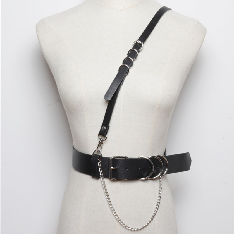 TVVOVVIN 2020 Strap Belt Integrated Pu Leather Girdle Female Punk Wind Wild T-shirt Accessories Wide Belt Female PC213