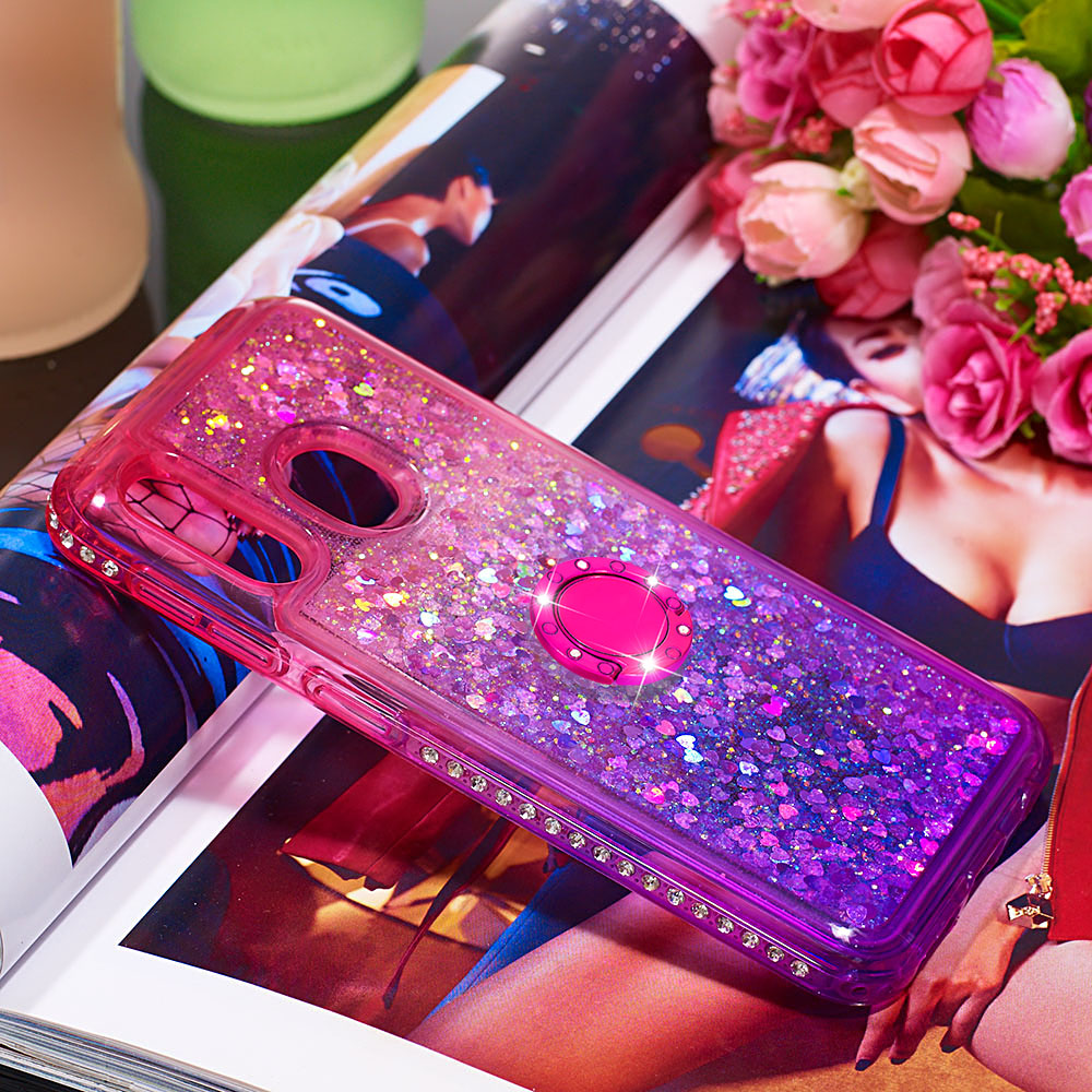 Image 2 - Phone Case for Samsung Galaxy A10e A20e A60 M40 Cover TPU Bling Giltter Quicksand Liquid Diamond Bracket Finger Ring Funda Coque-in Fitted Cases from Cellphones & Telecommunications