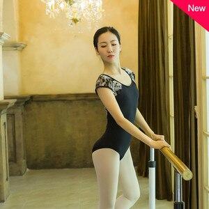 Image 4 - Adult Black Lace Patchwork Ballet Dancing Leotards Women Printing Back Button Gymnastics Dance Yoga Leotard