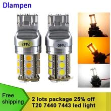 цена на LED Bulb canbus T20 7440 W21W WY21W 7443 super Side Light Auot Brake Lights 12V 24v bright Dual Reverse Backup Tail Parking lamp