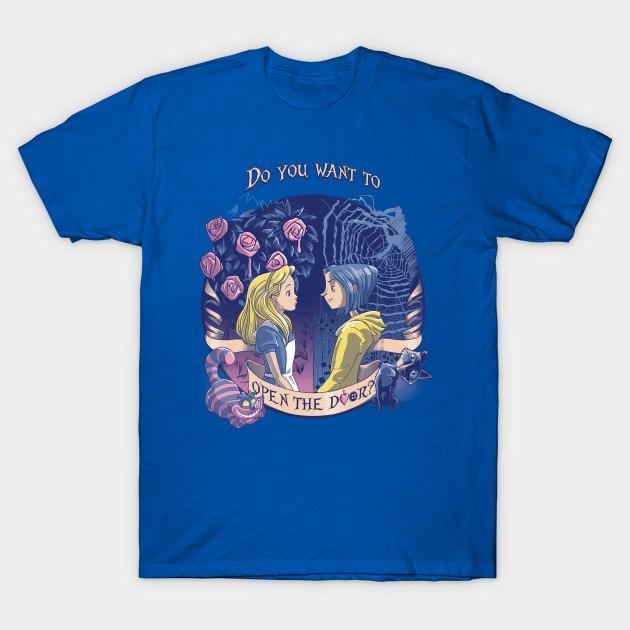 Men T Shirt Coraline Alice Open The Door Tshirt Women T Shirt T Shirts Aliexpress