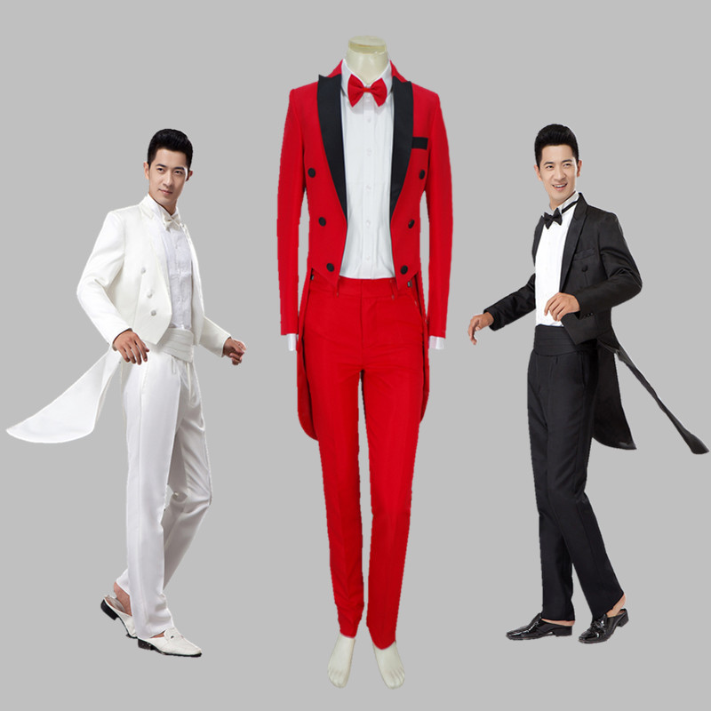 Male Swallowtail Magician Suits Set Formal Stage Wear Dress Costumes Men's Clothing Set Costume Performance Show Clothing VDB796
