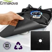 ERMAKOVA 2/4 шт крышка горелки для плиты с антипригарным покрытием многоразовые газовые горелки Лайнер протектор термостойкий газовый диапазон протектор