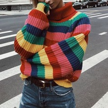 Rainbow Turtleneck Sweaters Women Winter Jumpers Knitted Clothes Fashion Striped Oversized Pullover female Sweater