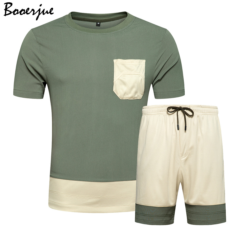 Summer Men Set Two Piece Jogger Sets Sweat Suit Men Cropped Top+Shorts Suit Shorts Sets Tracksuit Men New Outfit Luxury Clothes