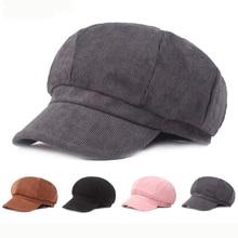 HT2593 Beret Hat Newsboy Cap Spring Autumn Women Hats Ladies Octagonal Solid Plain Artist Painter Vintage Berets