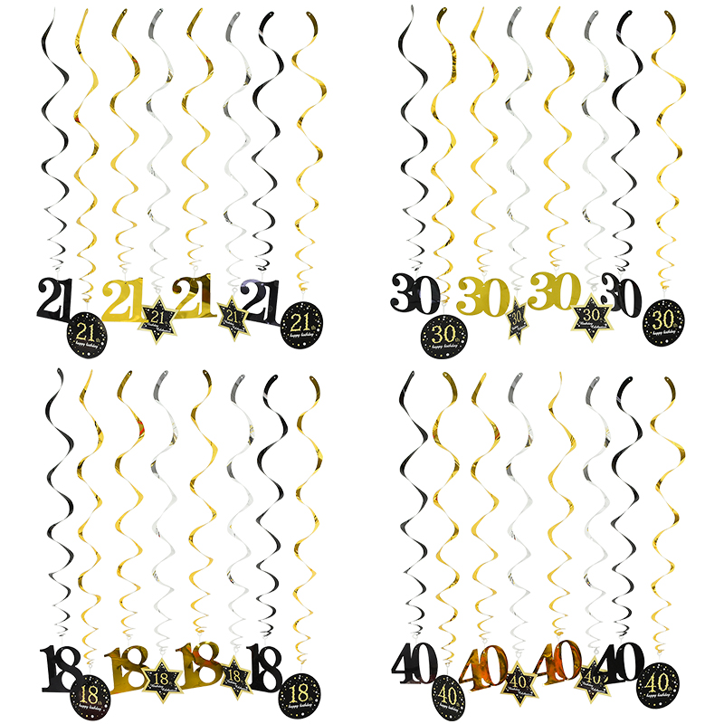 8pcs foil Paper Spiral Happy Birthday Swirl Banner 18 21 30 40 <font><b>50</b></font> 60 Years Old Hanging Ornament Birthday Party Decorations Adult image