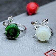 Nova nova prata incrustada natural hetian jade flor jade anel de pedra feminino fresco e romântico abertura ajustável marca jóias
