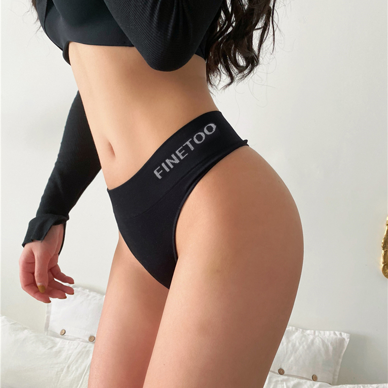 Fashion Cotton G-string Letter Patern Thong Hight-Waist Women's Panties Sexy Thong Comfortable Underwear Female Cotton Underwear(China)