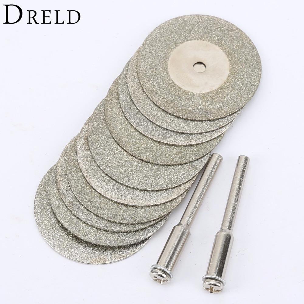 10pcs 30mm Diamond Cutting Discs Cut Off  Mini Diamond Saw Blade With 2pcs Connecting 3mm Shank For Dremel Drill Fit Rotary Tool