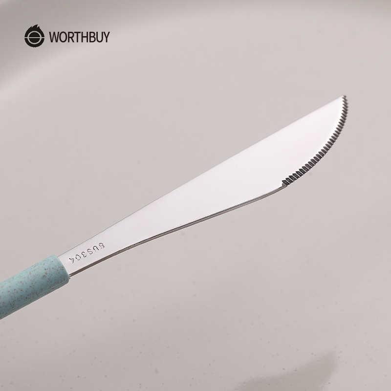 WORTHBUY 304 paslanmaz çelik çatal bıçak takımı buğday saman sapı mutfak bıçağı çatal yemek takımı seti piknik sofra yemek takımı