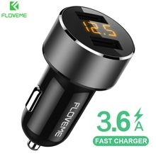 FLOVEME 18W USB Car Charger usb cigarette lighter car charger quick charge 3.0 18w For iPhone Xiaomi Dual Port Chargeur 3.6A Fast Charging Mobile Phone fast