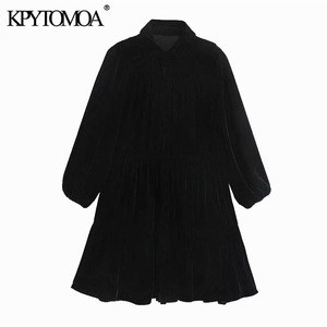 KPYTOMOA Women 2020 Chic Fashion With Buttons Ruffled Velvet Mini Shirt Dress Vintage Three Quarter Sleeve Female Dresses Mujer