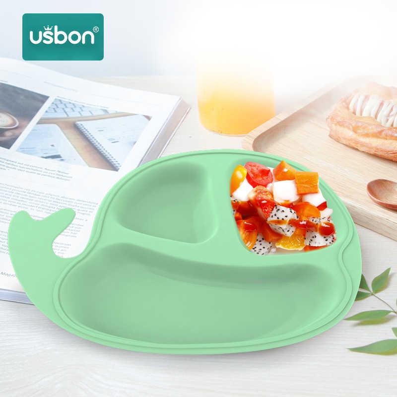 USB ON ชามเด็กการ์ตูนชุดพร้อมฝาปิดจานเด็กจานกินอาหารเย็น Anti-การฝึกอบรมจานอาหารค่ำ