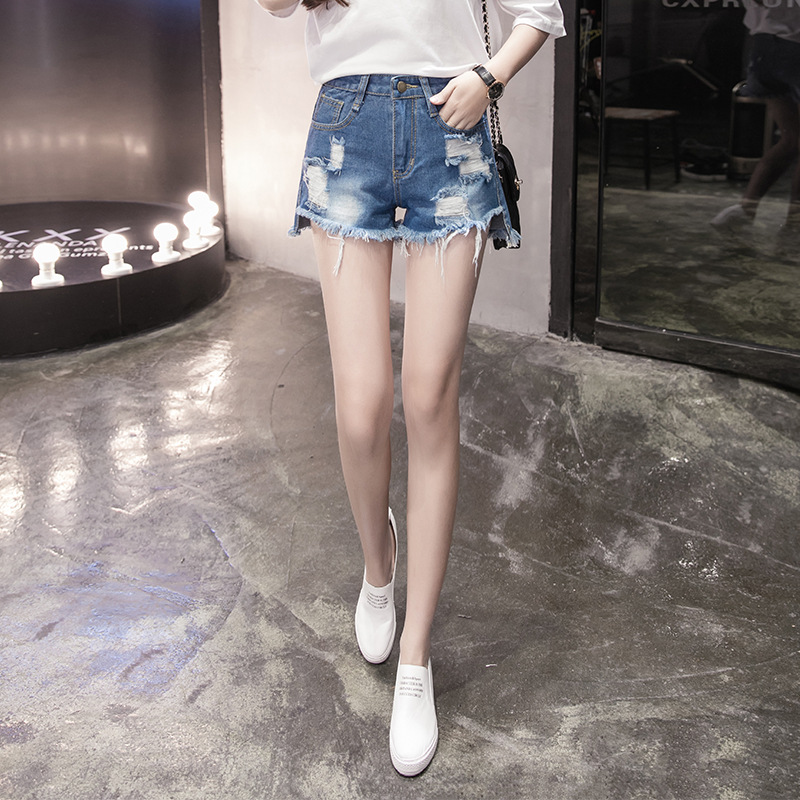 Photo Shoot Jeans Shorts Women's Large Size Dress Fat Mm 200 With Holes Students Loose Burrs Hot Pants