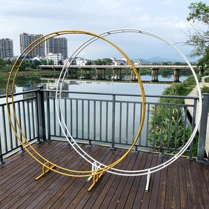 Iron double rod ring wedding arch outdoor marriage birthday party round arch decoration background shelf decoration arch frame