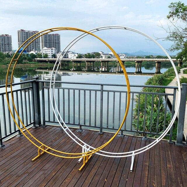 Żelazny podwójny pręt pierścień łuk ślubny na zewnątrz małżeństwo urodziny okrągły dekoracja w kształcie łuku tło półka dekoracja rama łukowa|Łuki ślubne|   -