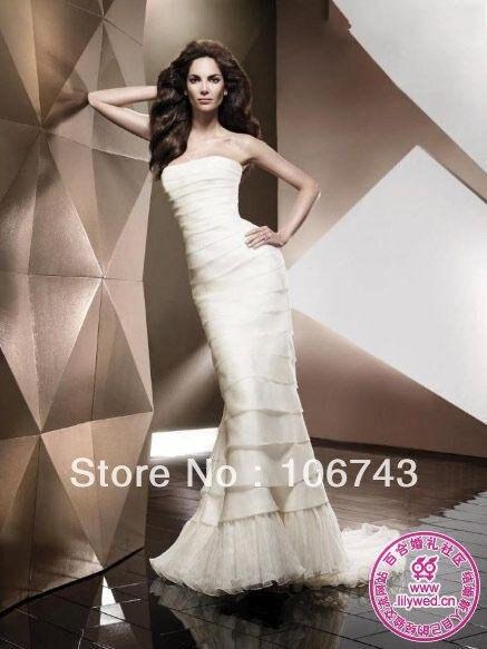 Free Shipping 2016 New Fashion Design Vestidos Formal Sexy Sheath Tiered Oraganza Elegant Party Wedding Dresses Bridal Gown