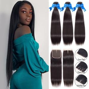 Jarin Peruvian Straight Hair Bundles With Closure Long Hair 28 30 32 34 36 inch Human Hair 3 Bundles With Closure Remy Hair
