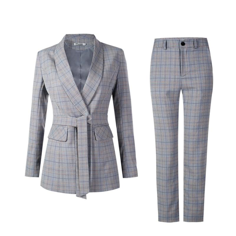 New Women Suit Blue Gray Casual Plaid Blazer Pant Spring Office Lady Notched Jacket Pant Suits Korean Femme 2 pieces set