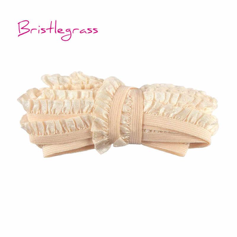 """BRISTLEGRASS 5 Yard 5/8 """"15mm parlak fırfırlı Ruffled dantel Trim elastik Spandex bandı çocuklar kafa bandı Tutu gelin düğün elbisesi dikiş"""