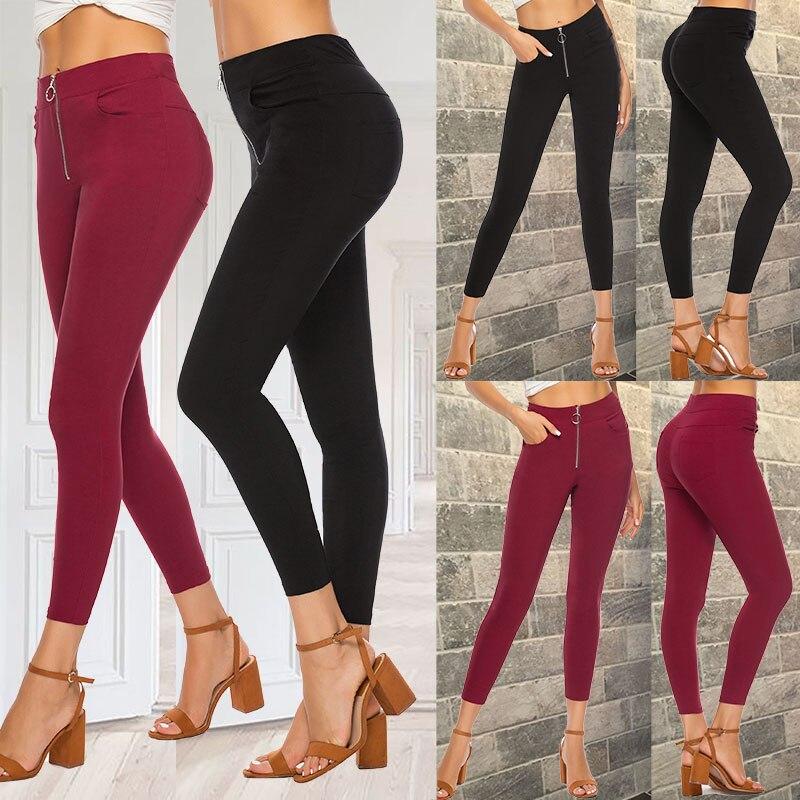 Elegant High Waist Pants Women Pencil Skinny Pants Office Ladies Trousers Casual Slim Black Capris 2020