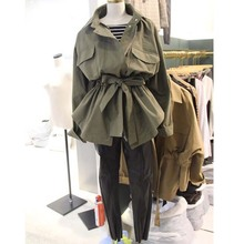 NiceMix Windbreaker Women Spring Autumn 2018 new Style Slimming Long Coat Green khaki Trenc