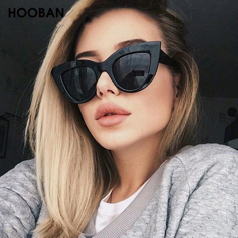 HOOBAN Retro Cat Eye Women Sunglasses Classic Black Ladies Sun Glasses Vintage Driving Female Eyeglasses UV400 Oculos