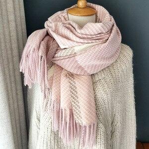 Image 1 - Bufanda de lana de Cachemira tejida, bufanda larga con calentador de Tessel, bufanda de moda para invierno, regalo de lujo para mujeres