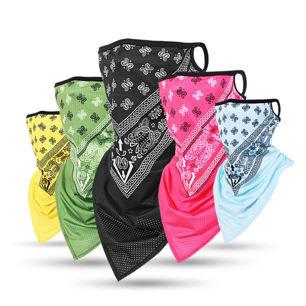Breathable Bandana Paisley Arab Hijab Mesh Tube Earloop Triangle Face Scarves Windproof Wrap Scarf Neck Gaiter Cover Headband