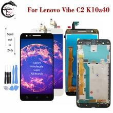 """5.0 """"LCD için çerçeve ile Lenovo Vibe C2 K10a40 ekran dokunmatik ekran sensörü sayısallaştırıcı meclisi için Lenovo C2 C 2 tam ekran yeni"""