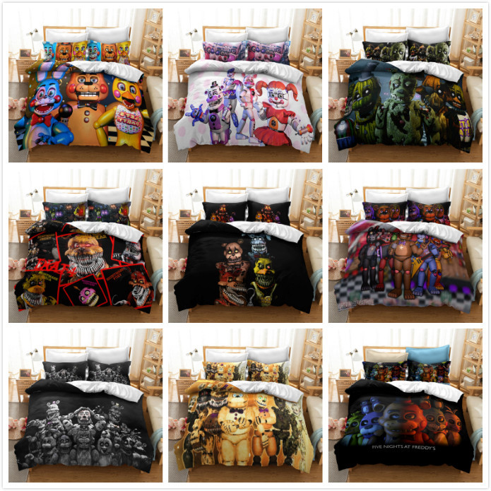 3D Five Nights At Freddy's Printed Bedding Set Duvet Cover Pillowcase Home Textile Adult Queen King Size Bedding Sets