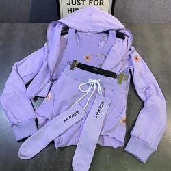Lila 4 Stück Set 2020 Daisy Gedruckt Sweatshirt + Weste + Kordelzug Shorts + Socken Vier-stück Anzug